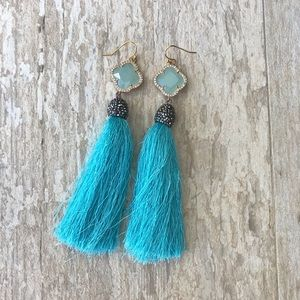 Jewelry - Aqua, Blue, Green, Handmade Tassel Earrings